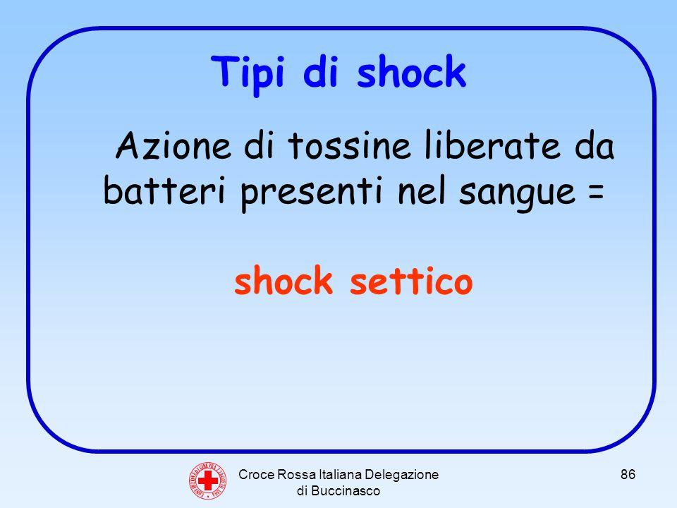 Croce Rossa Italiana Delegazione di Buccinasco 86 Tipi di shock Azione di tossine liberate da batteri presenti nel sangue = shock settico C O N V E N Z I O N E D I G I N E V R A 2 2 A G O S T O 1 8 6 4