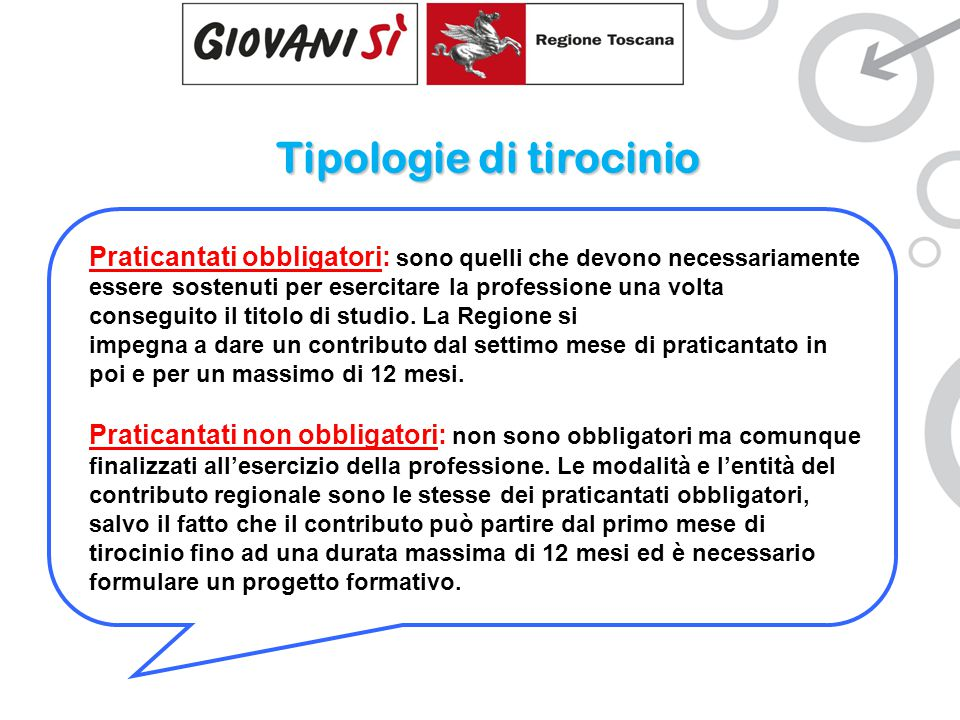 Tipologie di tirocinio Praticantati obbligatori: sono quelli che devono necessariamente essere sostenuti per esercitare la professione una volta conseguito il titolo di studio.