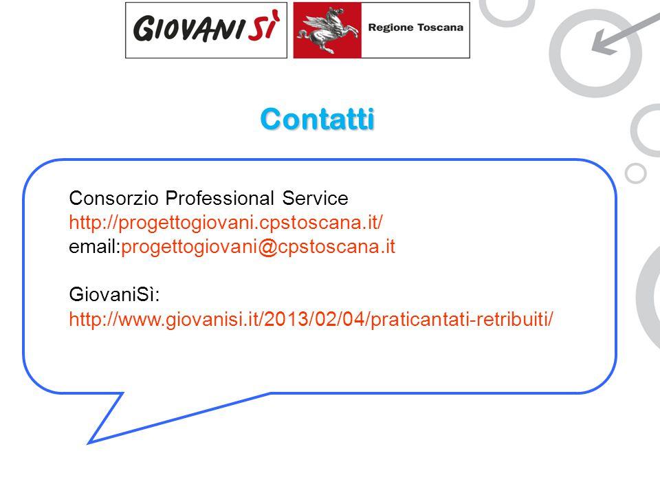 Contatti Consorzio Professional Service http://progettogiovani.cpstoscana.it/ email:progettogiovani@cpstoscana.it GiovaniSì: http://www.giovanisi.it/2013/02/04/praticantati-retribuiti/