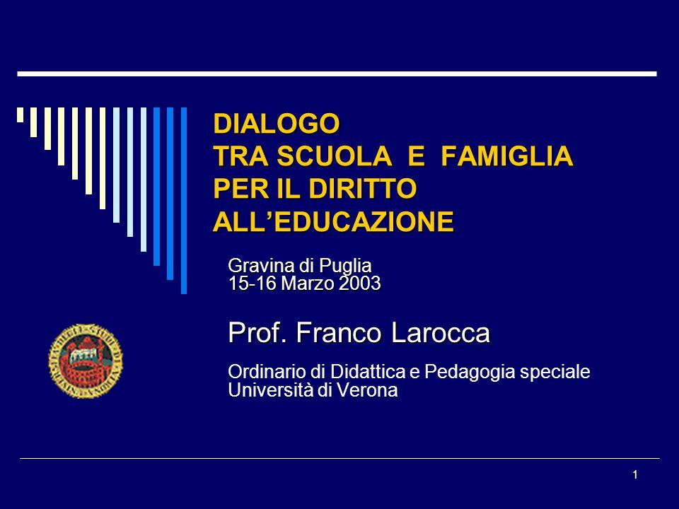 1 DIALOGO TRA SCUOLA E FAMIGLIA PER IL DIRITTO ALLEDUCAZIONE Gravina di Puglia 15-16 Marzo 2003 Prof.