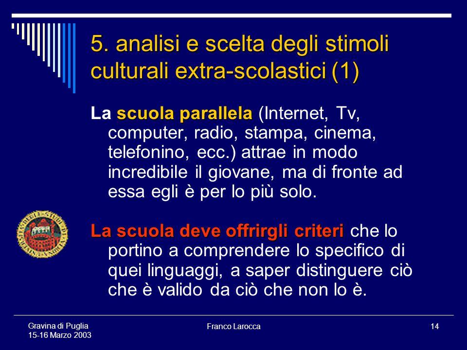 Franco Larocca14 Gravina di Puglia 15-16 Marzo 2003 5.