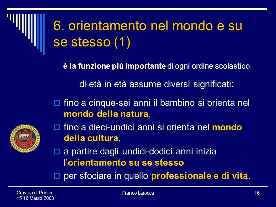 Franco Larocca16 Gravina di Puglia 15-16 Marzo 2003 6.