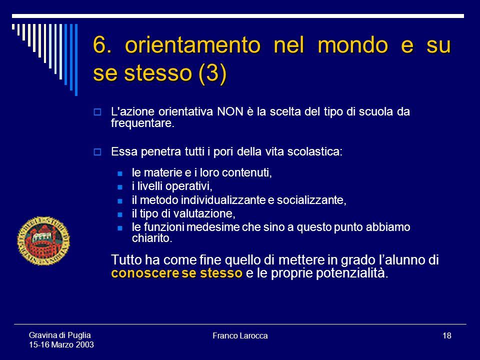 Franco Larocca18 Gravina di Puglia 15-16 Marzo 2003 6.