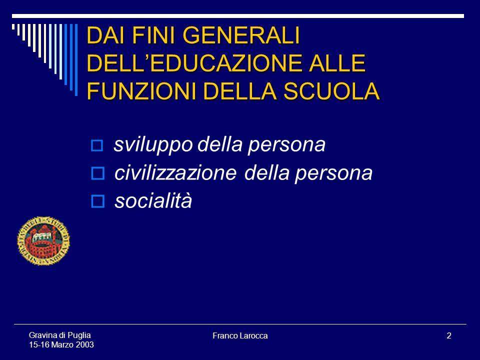 Franco Larocca2 Gravina di Puglia 15-16 Marzo 2003 DAI FINI GENERALI DELLEDUCAZIONE ALLE FUNZIONI DELLA SCUOLA sviluppo della persona civilizzazione della persona socialità