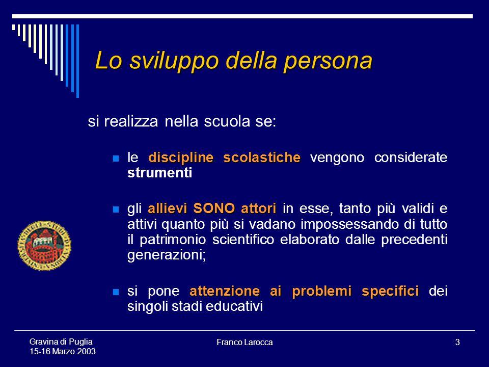 Franco Larocca34 Gravina di Puglia 15-16 Marzo 2003 …in concreto che fare perché i genitori si mobilitino a conoscere tutto ciò.