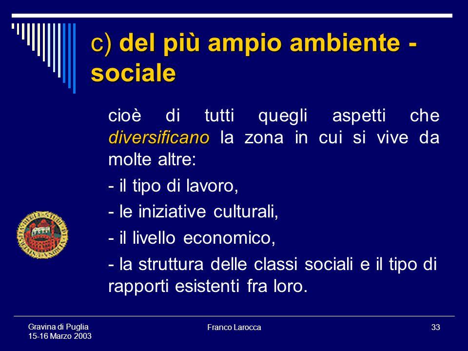 Franco Larocca33 Gravina di Puglia 15-16 Marzo 2003 c) del più ampio ambiente - sociale diversificano cioè di tutti quegli aspetti che diversificano la zona in cui si vive da molte altre: - il tipo di lavoro, - le iniziative culturali, - il livello economico, - la struttura delle classi sociali e il tipo di rapporti esistenti fra loro.