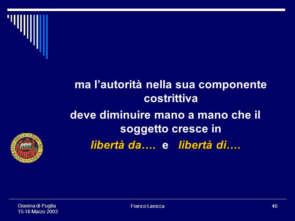 Franco Larocca40 Gravina di Puglia 15-16 Marzo 2003 ma lautorità nella sua componente costrittiva deve diminuire mano a mano che il soggetto cresce in libertà da….libertà di….