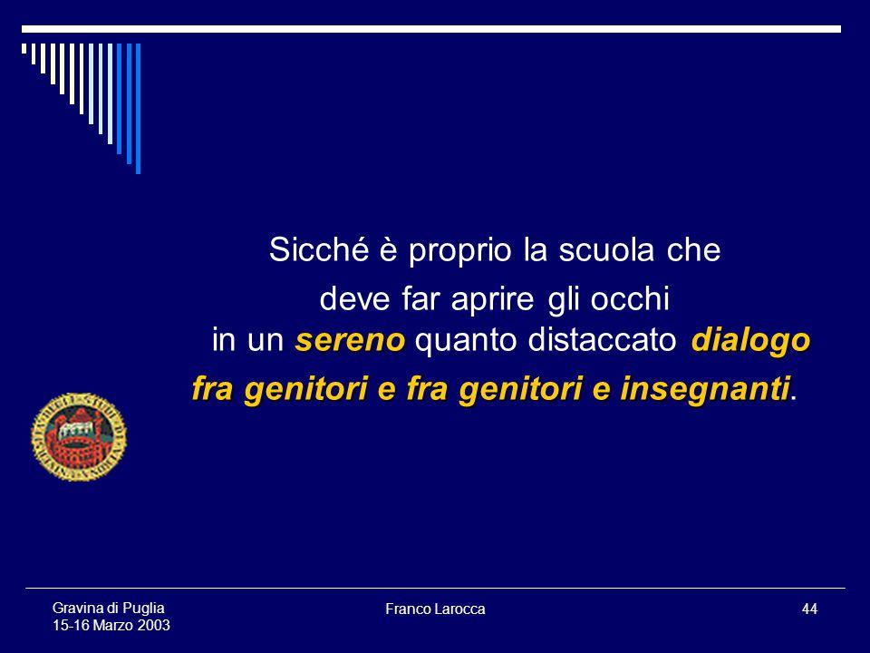 Franco Larocca44 Gravina di Puglia 15-16 Marzo 2003 Sicché è proprio la scuola che serenodialogo deve far aprire gli occhi in un sereno quanto distaccato dialogo fra genitori e fra genitori e insegnanti fra genitori e fra genitori e insegnanti.