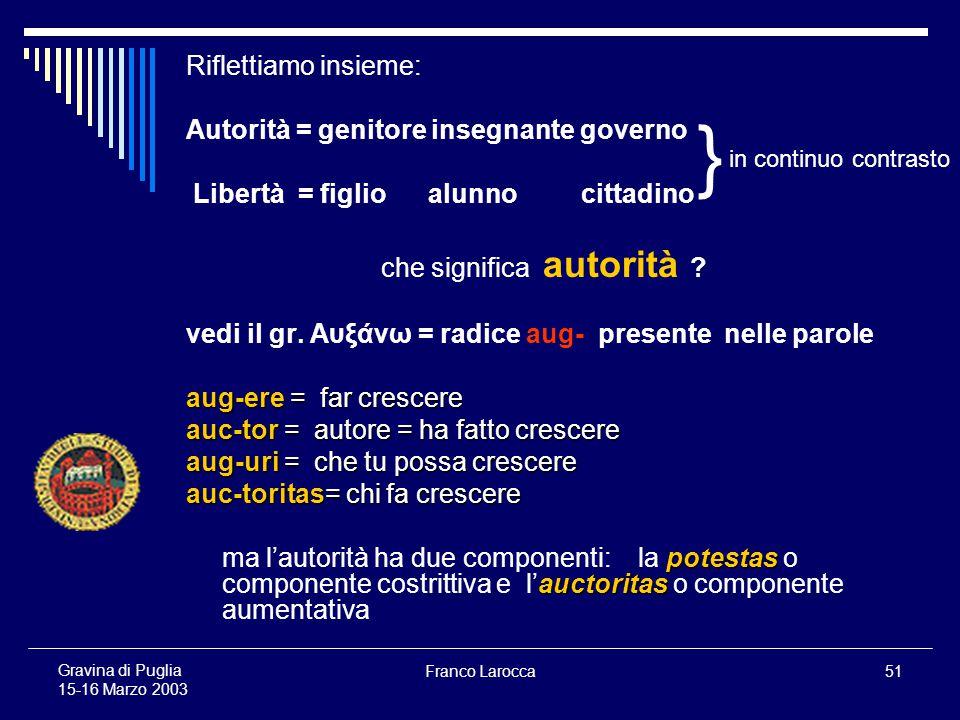 Franco Larocca51 Gravina di Puglia 15-16 Marzo 2003 Riflettiamo insieme: Autorità = genitore insegnante governo Libertà = figlio alunno cittadino che significa autorità .