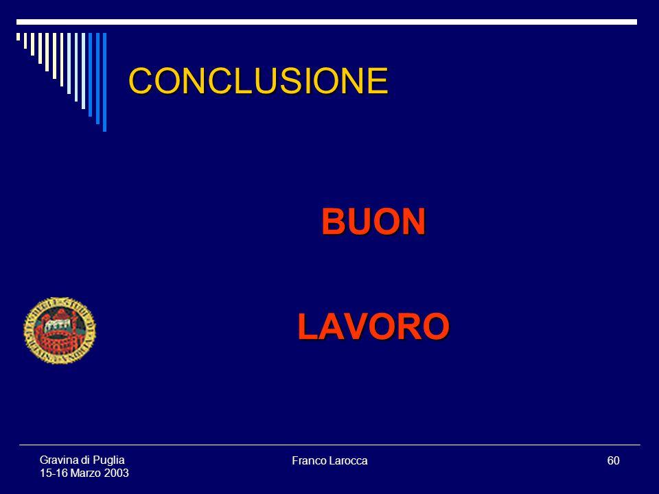 Franco Larocca60 Gravina di Puglia 15-16 Marzo 2003 CONCLUSIONE BUONLAVORO