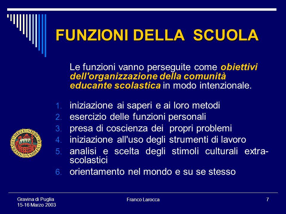 Franco Larocca7 Gravina di Puglia 15-16 Marzo 2003 FUNZIONI DELLA SCUOLA Le funzioni vanno perseguite come obiettivi dell organizzazione della comunità educante scolastica in modo intenzionale.