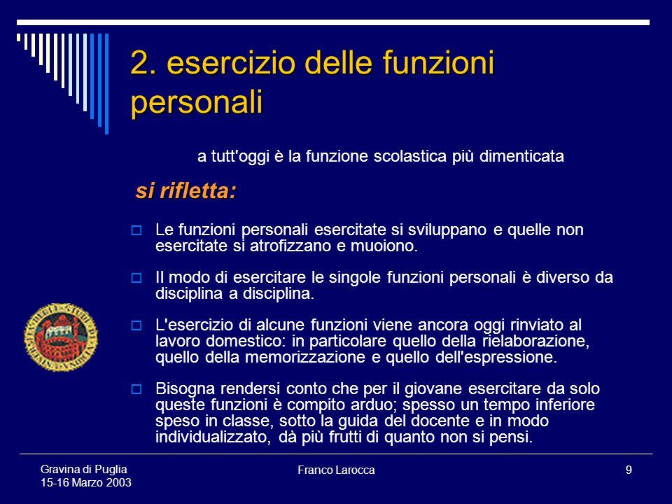 Franco Larocca20 Gravina di Puglia 15-16 Marzo 2003 Dai PRINCIPI alla loro ATTUAZIONE Insegnanti e genitori… … tutti assieme appassionatamente.