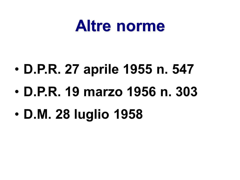 Altre norme D.P.R. 27 aprile 1955 n. 547 D.P.R. 19 marzo 1956 n. 303 D.M. 28 luglio 1958