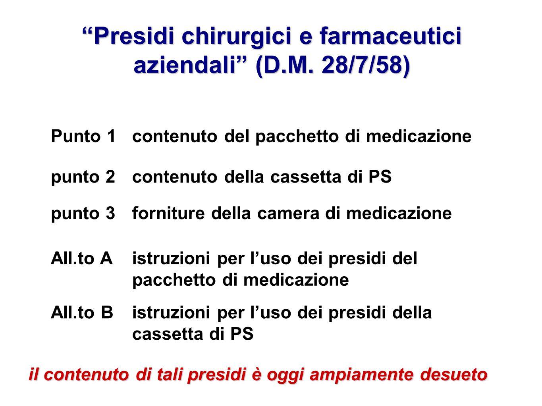 Presidi chirurgici e farmaceutici aziendali (D.M. 28/7/58) istruzioni per luso dei presidi della cassetta di PS All.to B istruzioni per luso dei presi