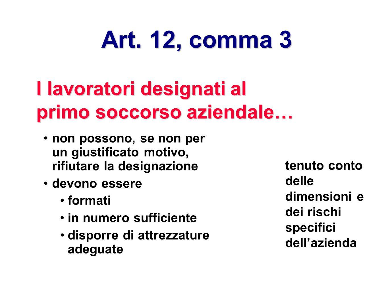 Art. 12, comma 3 I lavoratori designati al primo soccorso aziendale… non possono, se non per un giustificato motivo, rifiutare la designazione devono