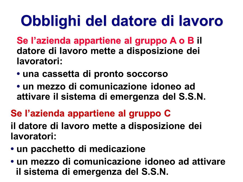 Obblighi del datore di lavoro Se lazienda appartiene al gruppo A o B Se lazienda appartiene al gruppo A o B il datore di lavoro mette a disposizione d