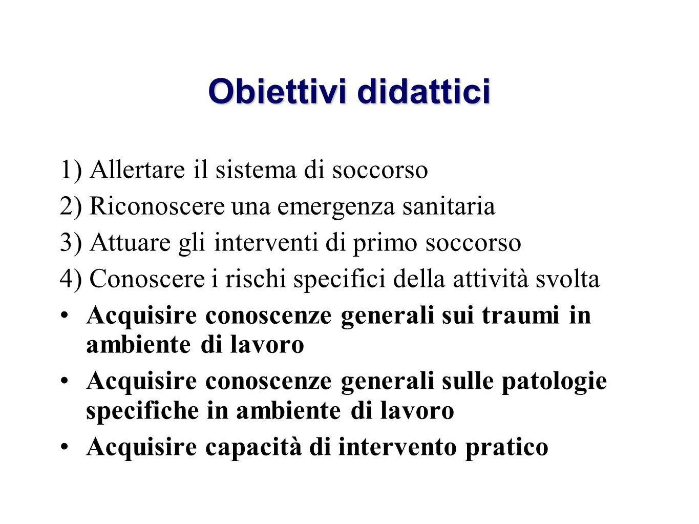 Obiettivi didattici 1) Allertare il sistema di soccorso 2) Riconoscere una emergenza sanitaria 3) Attuare gli interventi di primo soccorso 4) Conoscer