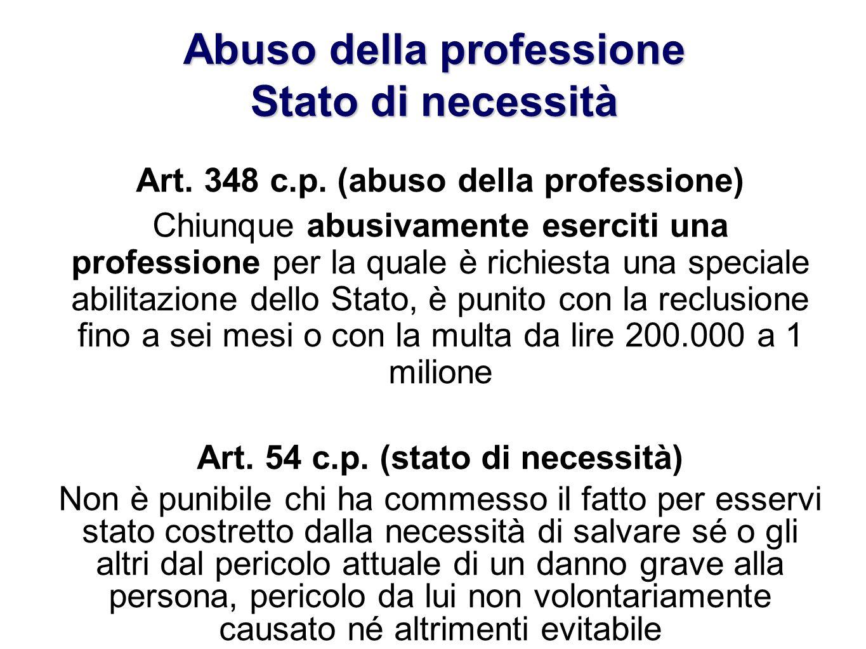 Abuso della professione Stato di necessità Art. 348 c.p. (abuso della professione) Chiunque abusivamente eserciti una professione per la quale è richi