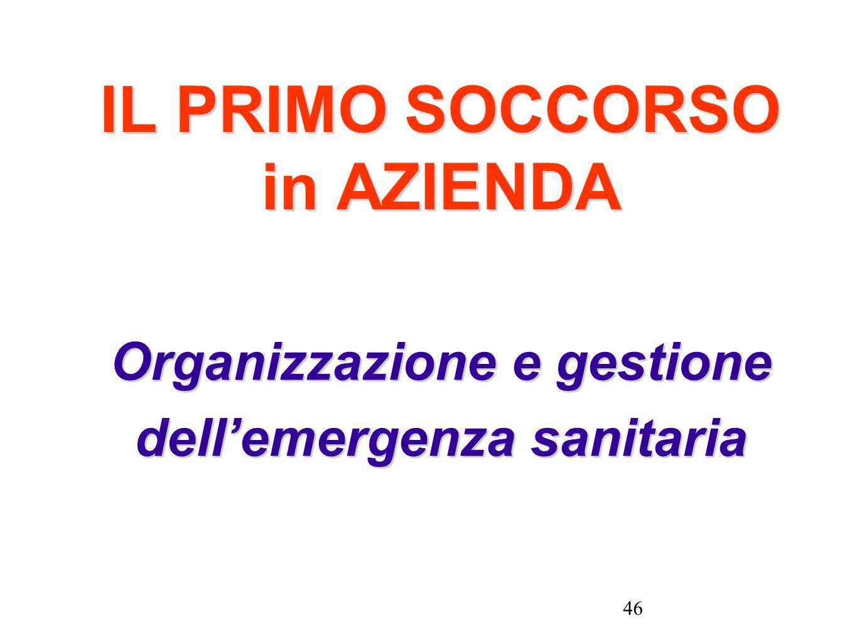46 IL PRIMO SOCCORSO in AZIENDA Organizzazione e gestione dellemergenza sanitaria