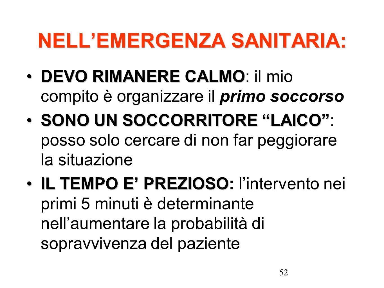52 NELLEMERGENZA SANITARIA: DEVO RIMANERE CALMODEVO RIMANERE CALMO: il mio compito è organizzare il primo soccorso SONO UN SOCCORRITORE LAICOSONO UN S