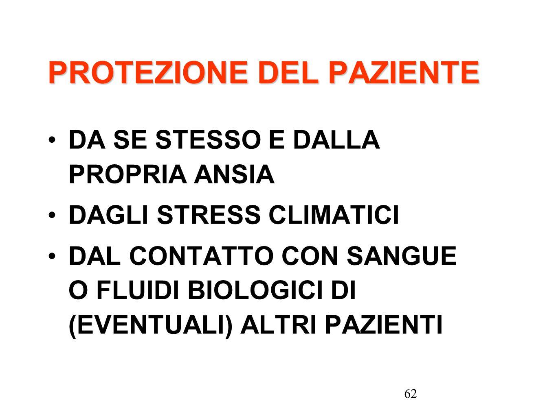 62 PROTEZIONE DEL PAZIENTE DA SE STESSO E DALLA PROPRIA ANSIA DAGLI STRESS CLIMATICI DAL CONTATTO CON SANGUE O FLUIDI BIOLOGICI DI (EVENTUALI) ALTRI P