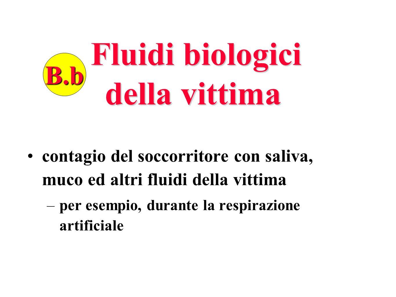 Fluidi biologici della vittima Fluidi biologici della vittima contagio del soccorritore con saliva, muco ed altri fluidi della vittima –per esempio, d