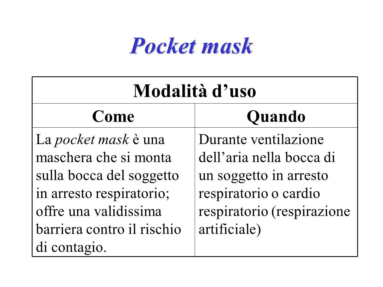 Pocket mask Durante ventilazione dellaria nella bocca di un soggetto in arresto respiratorio o cardio respiratorio (respirazione artificiale) La pocke