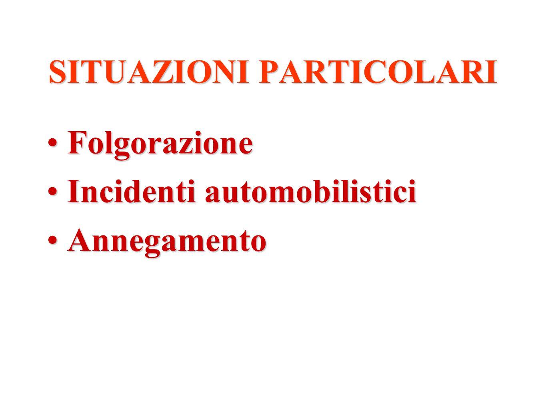 SITUAZIONI PARTICOLARI FolgorazioneFolgorazione Incidenti automobilisticiIncidenti automobilistici AnnegamentoAnnegamento