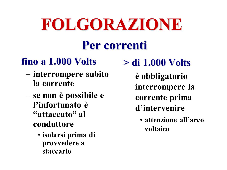 FOLGORAZIONE fino a 1.000 Volts –interrompere subito la corrente –se non è possibile e linfortunato è attaccato al conduttore isolarsi prima di provve
