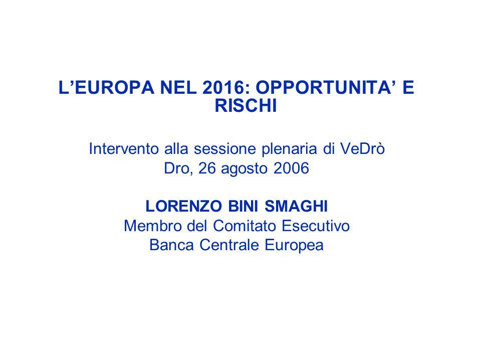 LEUROPA NEL 2016: OPPORTUNITA E RISCHI Intervento alla sessione plenaria di VeDrò Dro, 26 agosto 2006 LORENZO BINI SMAGHI Membro del Comitato Esecutiv