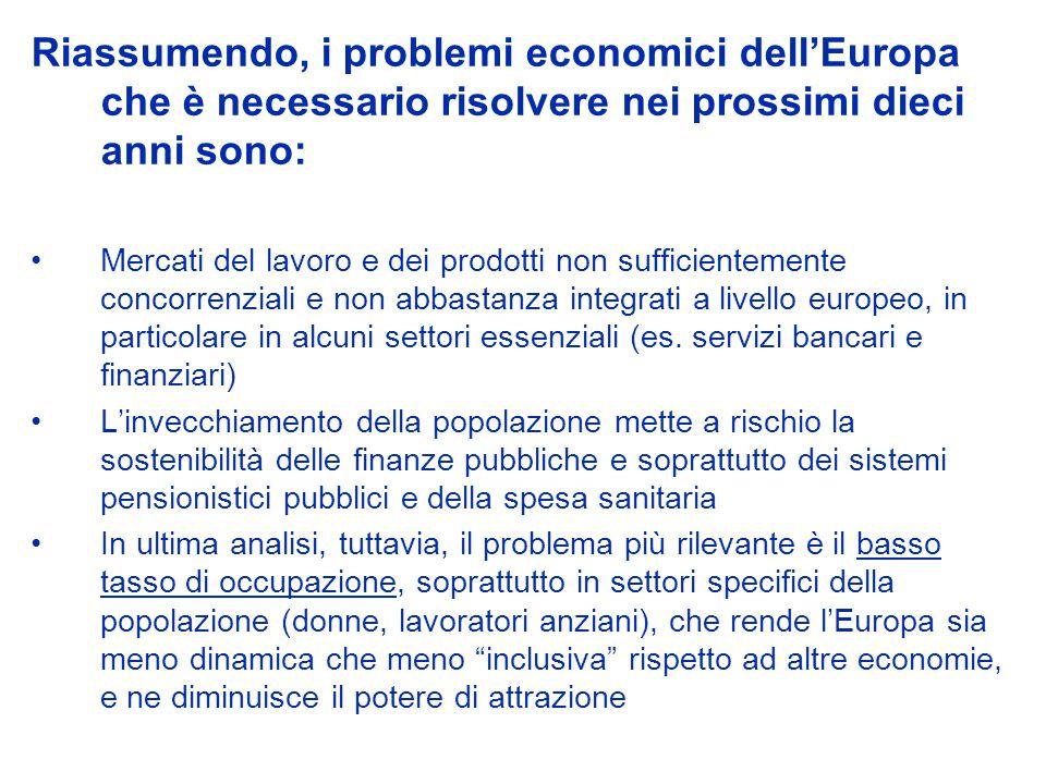 Riassumendo, i problemi economici dellEuropa che è necessario risolvere nei prossimi dieci anni sono: Mercati del lavoro e dei prodotti non sufficientemente concorrenziali e non abbastanza integrati a livello europeo, in particolare in alcuni settori essenziali (es.