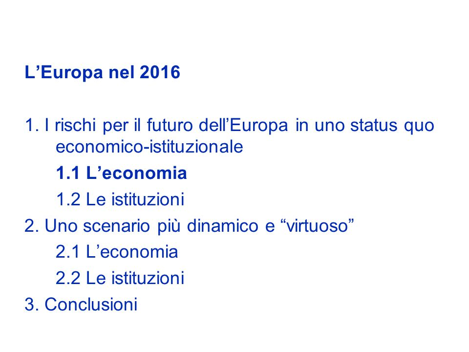 Le imprese hanno un ruolo particolarmente importante nel modernizzare il sistema produttivo A livello imprenditoriale, il modello di impresa familiare sta entrando in crisi e va ripensato In particolare, esso conduce a una bassa spesa in ricerca e sviluppo e a una concentrazione in settori tradizionali a basso valore aggiunto e / o in settori protetti dalla concorrenza La spesa in ricerca e sviluppo del settore privato in Italia (0.5% del Pil) è di gran lunga inferiore a quella dei maggiori partner europei Occorre invece un cambiamento di cultura imprenditoriale, una maggiore flessibilità e più assunzione di rischi, anche per le grandi imprese Parte della diminuzione della quota dellexport dellItalia sul totale del commercio mondiale deriva da una specializzazione settoriale sfavorevole (solo il 10% del nostro export è in prodotti ad alta tecnologia).