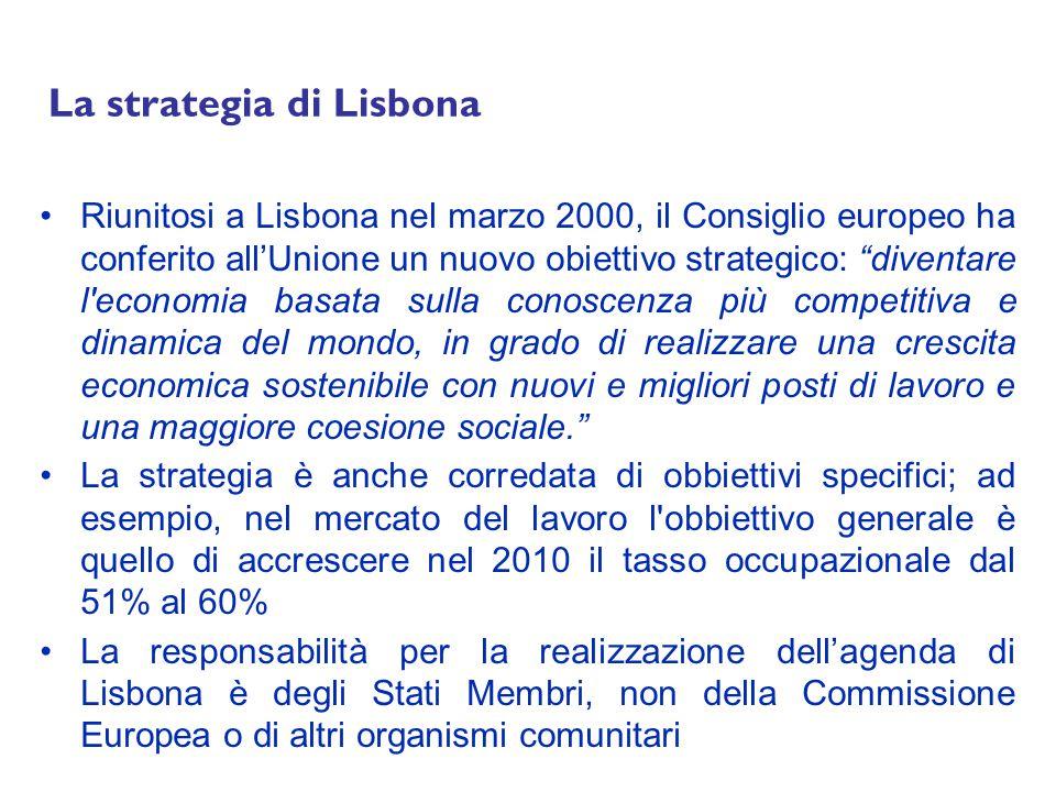 La strategia di Lisbona Riunitosi a Lisbona nel marzo 2000, il Consiglio europeo ha conferito allUnione un nuovo obiettivo strategico: diventare l economia basata sulla conoscenza più competitiva e dinamica del mondo, in grado di realizzare una crescita economica sostenibile con nuovi e migliori posti di lavoro e una maggiore coesione sociale.