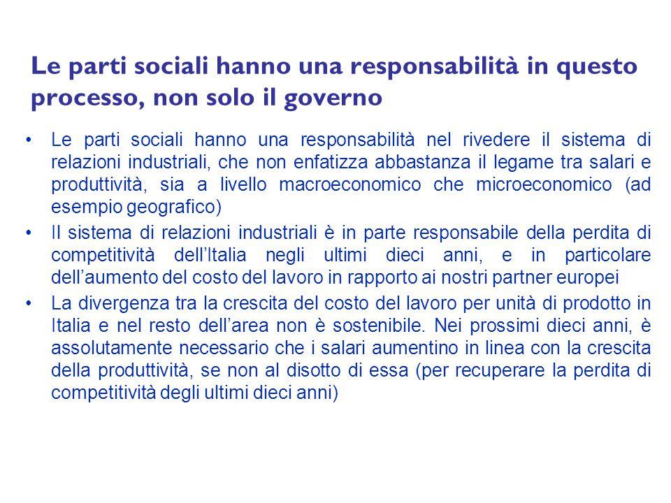 Le parti sociali hanno una responsabilità in questo processo, non solo il governo Le parti sociali hanno una responsabilità nel rivedere il sistema di