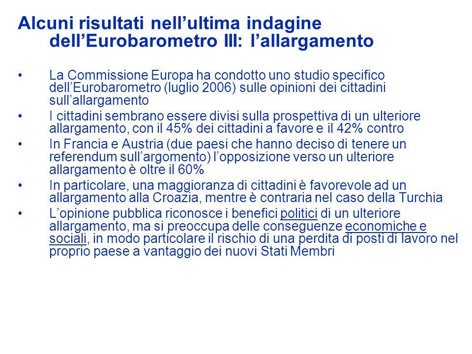 Alcuni risultati nellultima indagine dellEurobarometro III: lallargamento La Commissione Europa ha condotto uno studio specifico dellEurobarometro (lu