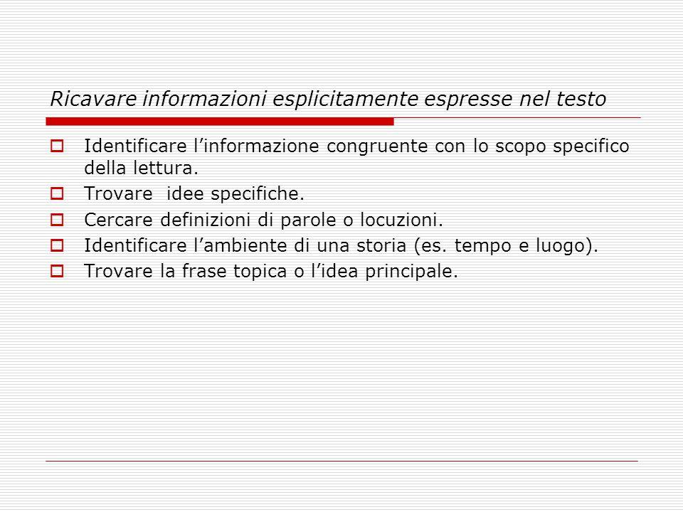 Ricavare informazioni esplicitamente espresse nel testo Identificare linformazione congruente con lo scopo specifico della lettura. Trovare idee speci