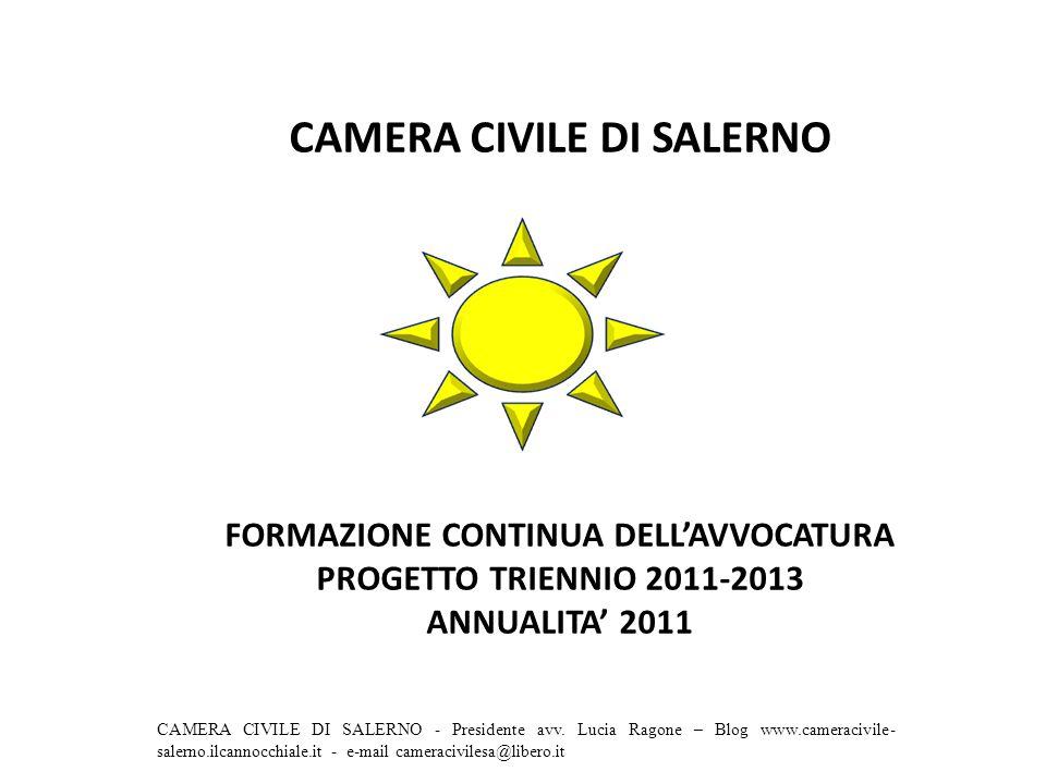 CAMERA CIVILE DI SALERNO FORMAZIONE CONTINUA DELLAVVOCATURA PROGETTO TRIENNIO 2011-2013 ANNUALITA 2011 CAMERA CIVILE DI SALERNO - Presidente avv.