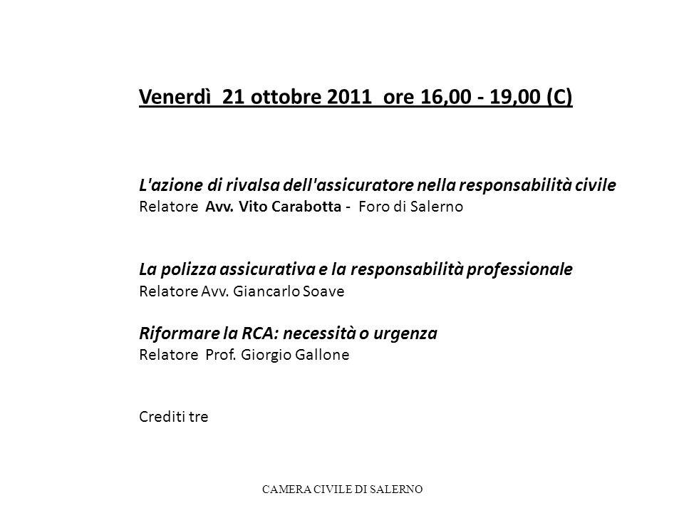 Venerdì 21 ottobre 2011 ore 16,00 - 19,00 (C) L azione di rivalsa dell assicuratore nella responsabilità civile Relatore Avv.