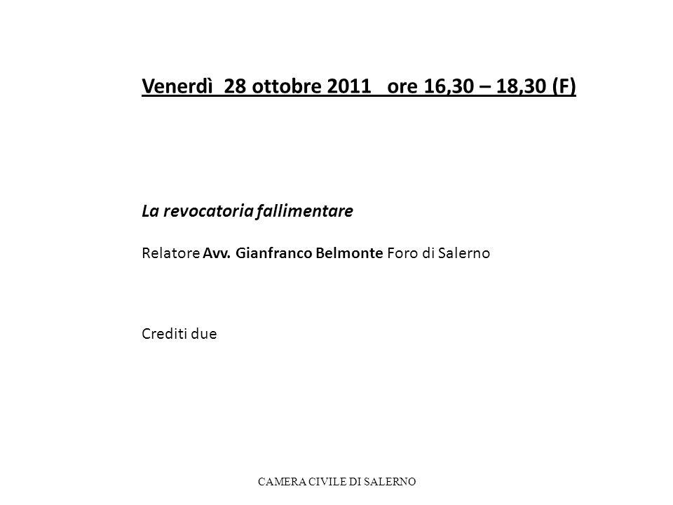 Venerdì 28 ottobre 2011 ore 16,30 – 18,30 (F) La revocatoria fallimentare Relatore Avv.