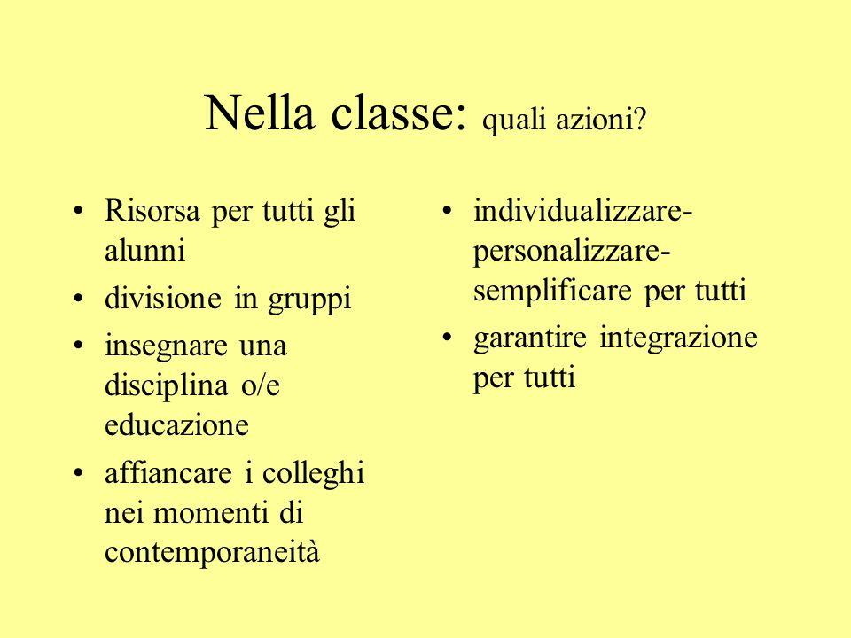 Nella classe: quali azioni.