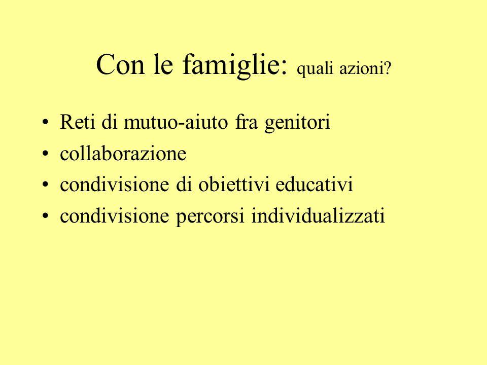 Con le famiglie: quali azioni? Reti di mutuo-aiuto fra genitori collaborazione condivisione di obiettivi educativi condivisione percorsi individualizz