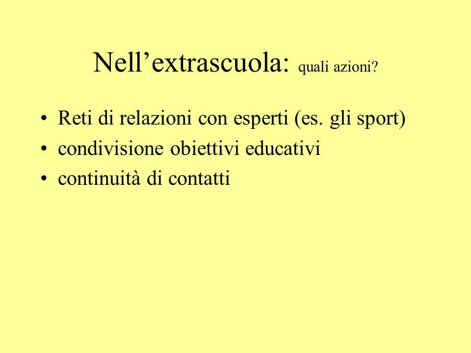 Nellextrascuola: quali azioni.Reti di relazioni con esperti (es.