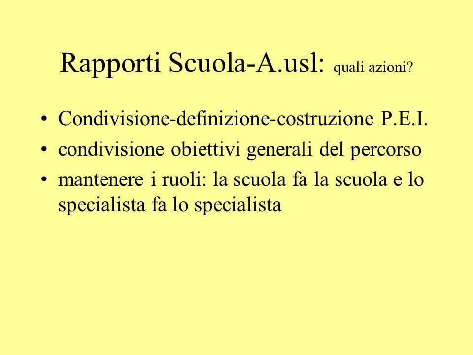 Rapporti Scuola-A.usl: quali azioni.Condivisione-definizione-costruzione P.E.I.