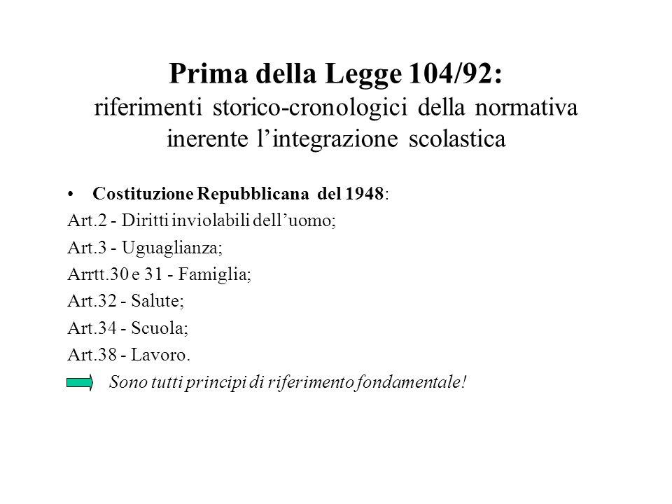 Prima della Legge 104/92: riferimenti storico-cronologici della normativa inerente lintegrazione scolastica Costituzione Repubblicana del 1948: Art.2
