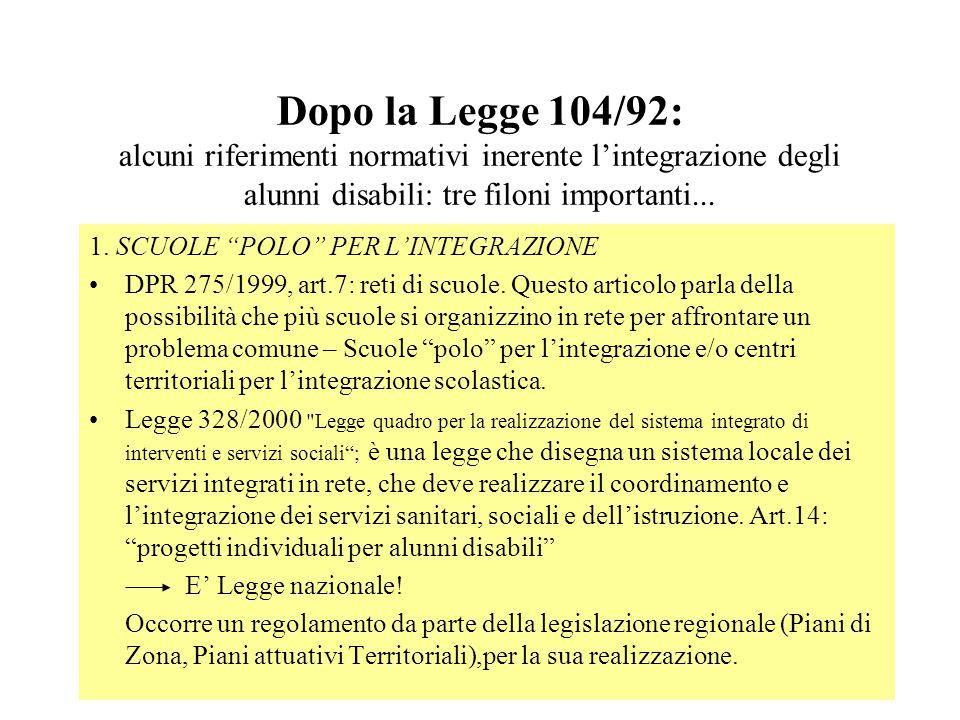Dopo la Legge 104/92: alcuni riferimenti normativi inerente lintegrazione degli alunni disabili: tre filoni importanti... 1. SCUOLE POLO PER LINTEGRAZ