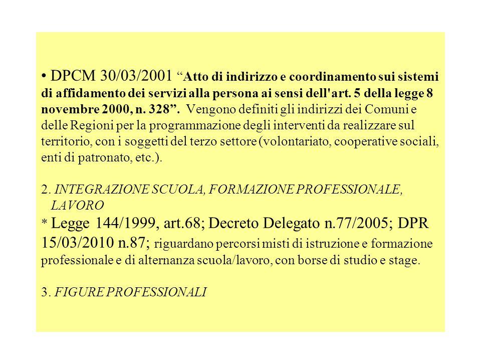 DPCM 30/03/2001Atto di indirizzo e coordinamento sui sistemi di affidamento dei servizi alla persona ai sensi dell'art. 5 della legge 8 novembre 2000,