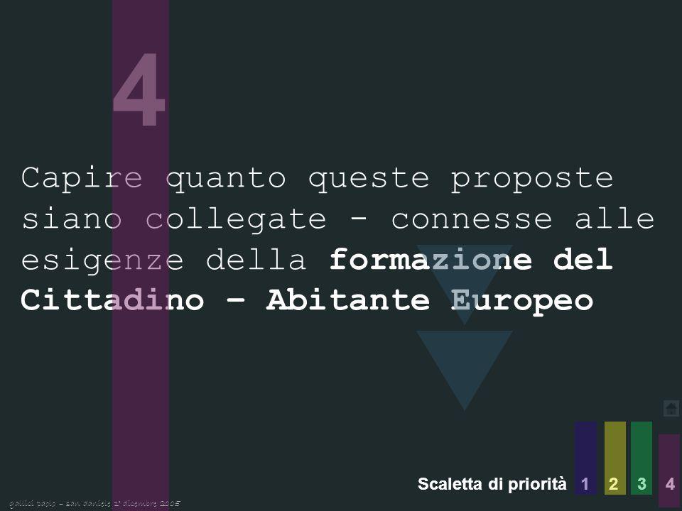4 Capire quanto queste proposte siano collegate - connesse alle esigenze della formazione del Cittadino – Abitante Europeo Scaletta di priorità 1 2 3