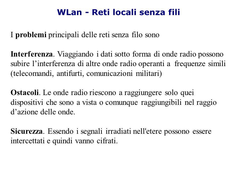 I problemi principali delle reti senza filo sono Interferenza. Viaggiando i dati sotto forma di onde radio possono subire linterferenza di altre onde