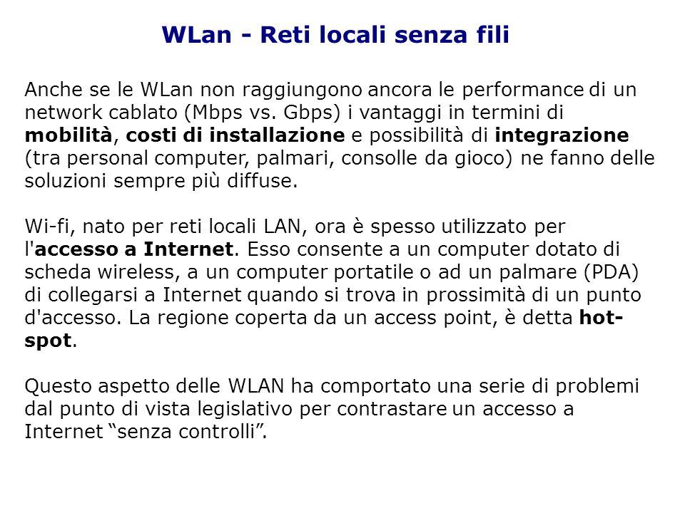 Anche se le WLan non raggiungono ancora le performance di un network cablato (Mbps vs. Gbps) i vantaggi in termini di mobilità, costi di installazione