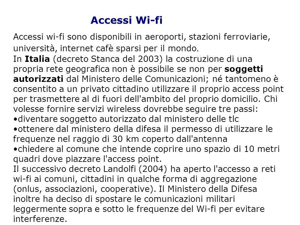 Accessi wi-fi sono disponibili in aeroporti, stazioni ferroviarie, università, internet cafè sparsi per il mondo. In Italia (decreto Stanca del 2003)